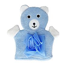 Детская мочалка варежка (голубая)