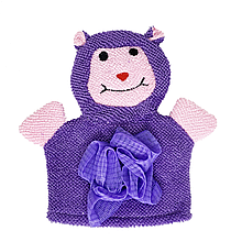 Дитяча мочалка рукавичка для купання малюка (фіолетова)