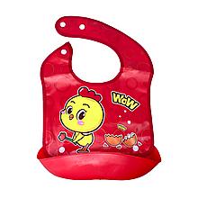 Слюнявчик с ковшом (Красный с цыплёнком)