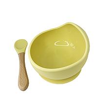 Силиконовая тарелка на присоске с ложкой (Жёлтый)