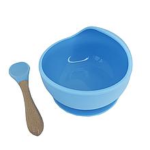Силиконовая тарелка на присоске с ложкой (голубой)