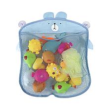 Детская сетка органайзер в ванную для хранения игрушек на присоске (Голубой мишка)