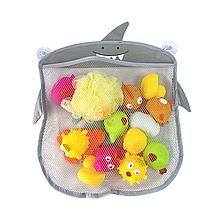 Дитяча сітка органайзер в ванну для зберігання іграшок на присоску (Сіра акула)