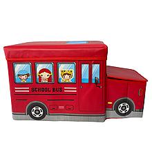 Бокс-пуфик для игрушек (School Bus красный)