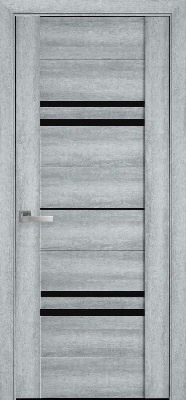 Дверне полотно ПВХ  Мерида бук кашемир 80 п/о BLK (вітрина)
