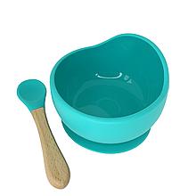 Силиконовая тарелка на присоске с ложкой (бирюзовый)