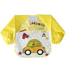 Слюнявчик с рукавами - Машина (желтый)