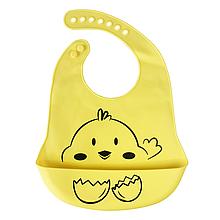 Силиконовый слюнявчик с карманом Цыпленок (желтый)