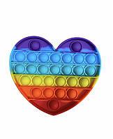 Pop it (Поп Ит) сердце пупырка антистресс разноцветная для детей