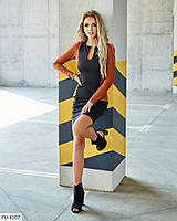 Стильное короткое платье мини облегающее с имитацией пиджака из креп-дайвинга с напылением арт. с541