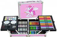 Детский набор для рисования и творчества в алюминиевом чемодане Единорог 145 предметов Розовый