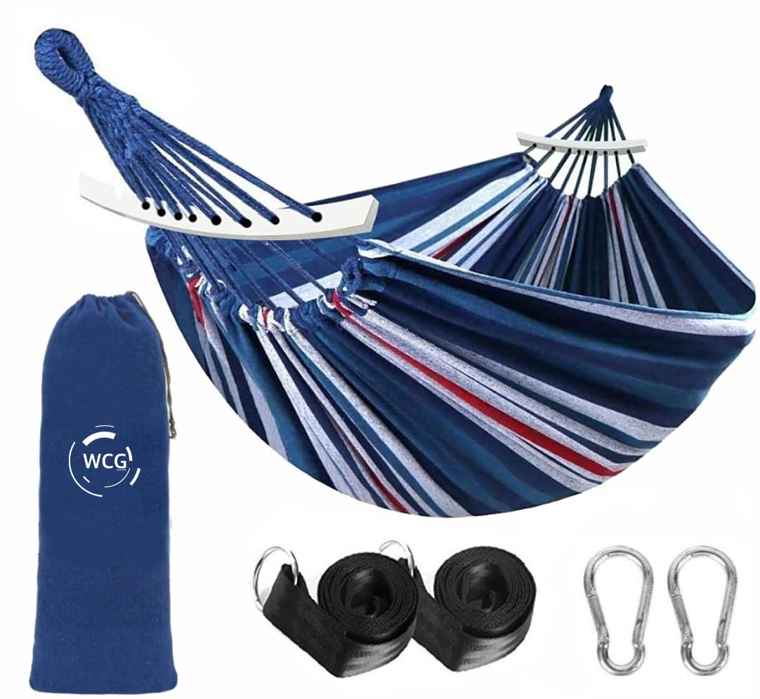 Одноместный гамак с планкой SUMMER Синий XL 200х100 WCG