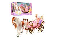 Игровой набор для девочки карета с куклой см,свет,лошадь-звук,ходит,кукла 29см,