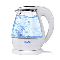 Чайник електричний електрочайник скляний Mesko MS 1245 1.5 л White