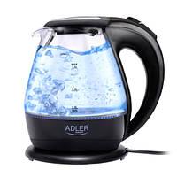 Чайник електричний електрочайник скляний Adler AD 1224 1.5 л Black