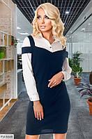 Деловое стильное платье короткое мини облегающее с имитацией сарафан с рубашкой Размер: 42-44, 44-46 арт. 1127