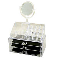 Органайзер для косметики акриловый настольный с зеркалом HLV Cosmetic Organiger