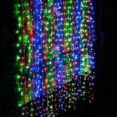 Гирлянда штора-водопад,прозрачный шнур, 3*2 м, 280 LED, мультик, с переходником