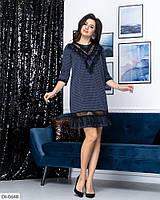 Красивое трикотажное платье короткое свободного кроя в клеточку со вставкой из сетки флок арт. 7979, фото 1