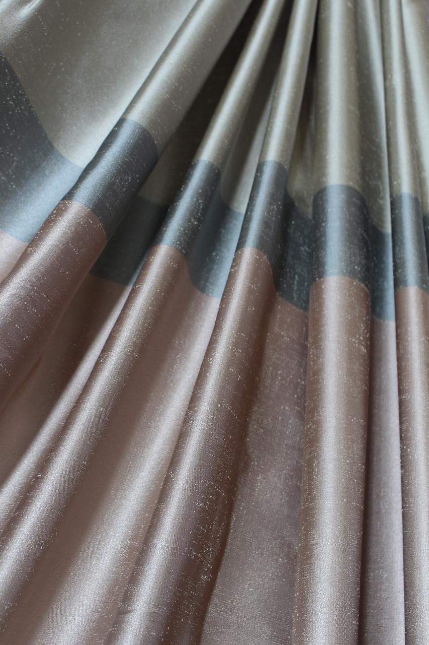 Шторы полоска розового, бежевого, серого цвета в гостиную, спальную, зал
