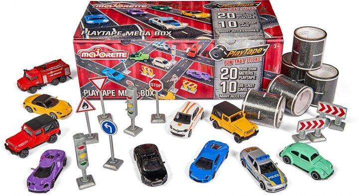 """Набор """"Мега Бокс"""" (10 машинок, 20 м клейкой дороги, 8 дорожных знаков), Majorette 3+ (2058198)"""