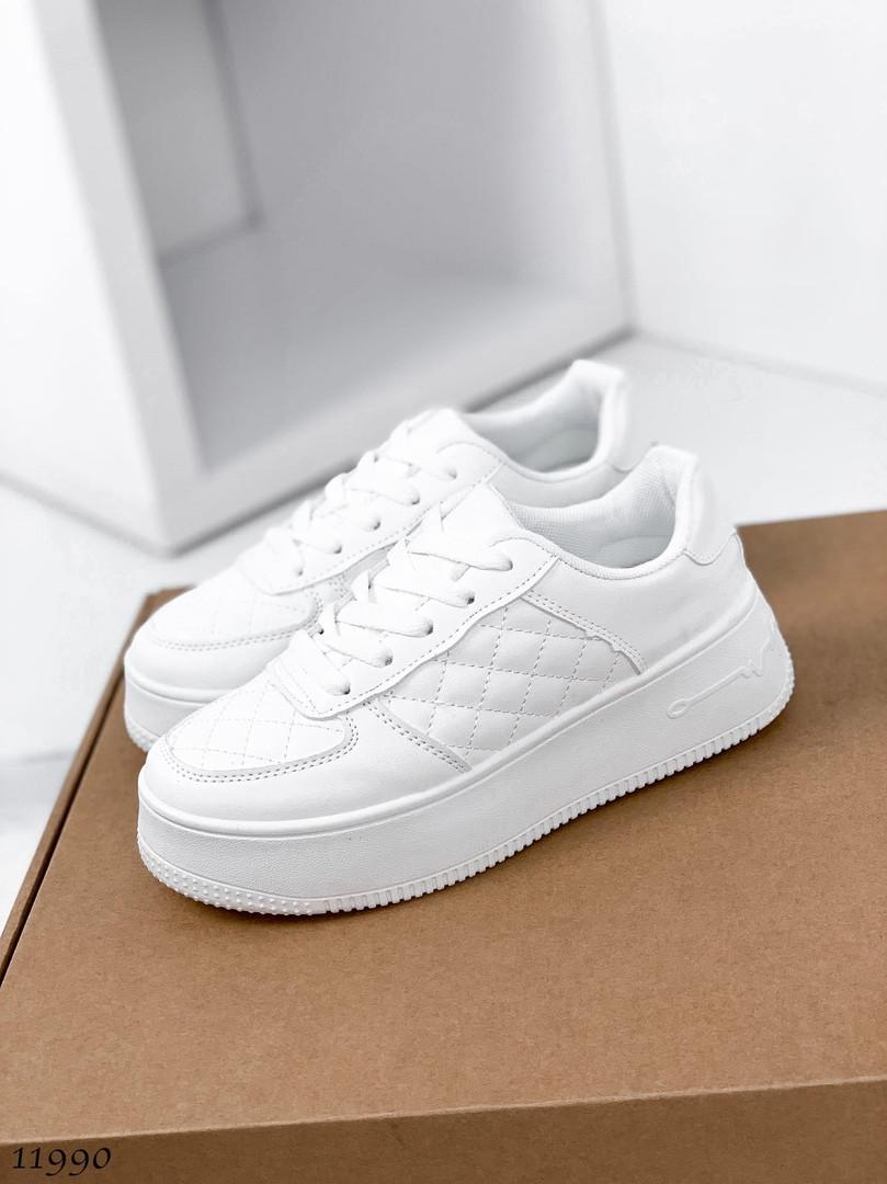 Белые кожаные кроссовки 11990 (ЯМ)