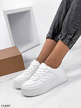 Белые кожаные кроссовки 11990 (ЯМ), фото 3
