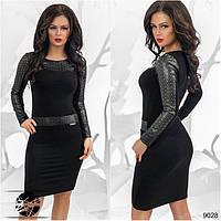 Черное платье про-во Турция с перфорированным кожзамом