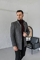 Мужское Пальто Люксембург стойка ч/б