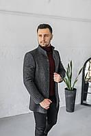 Мужское Пальто Люксембург стойка сіре