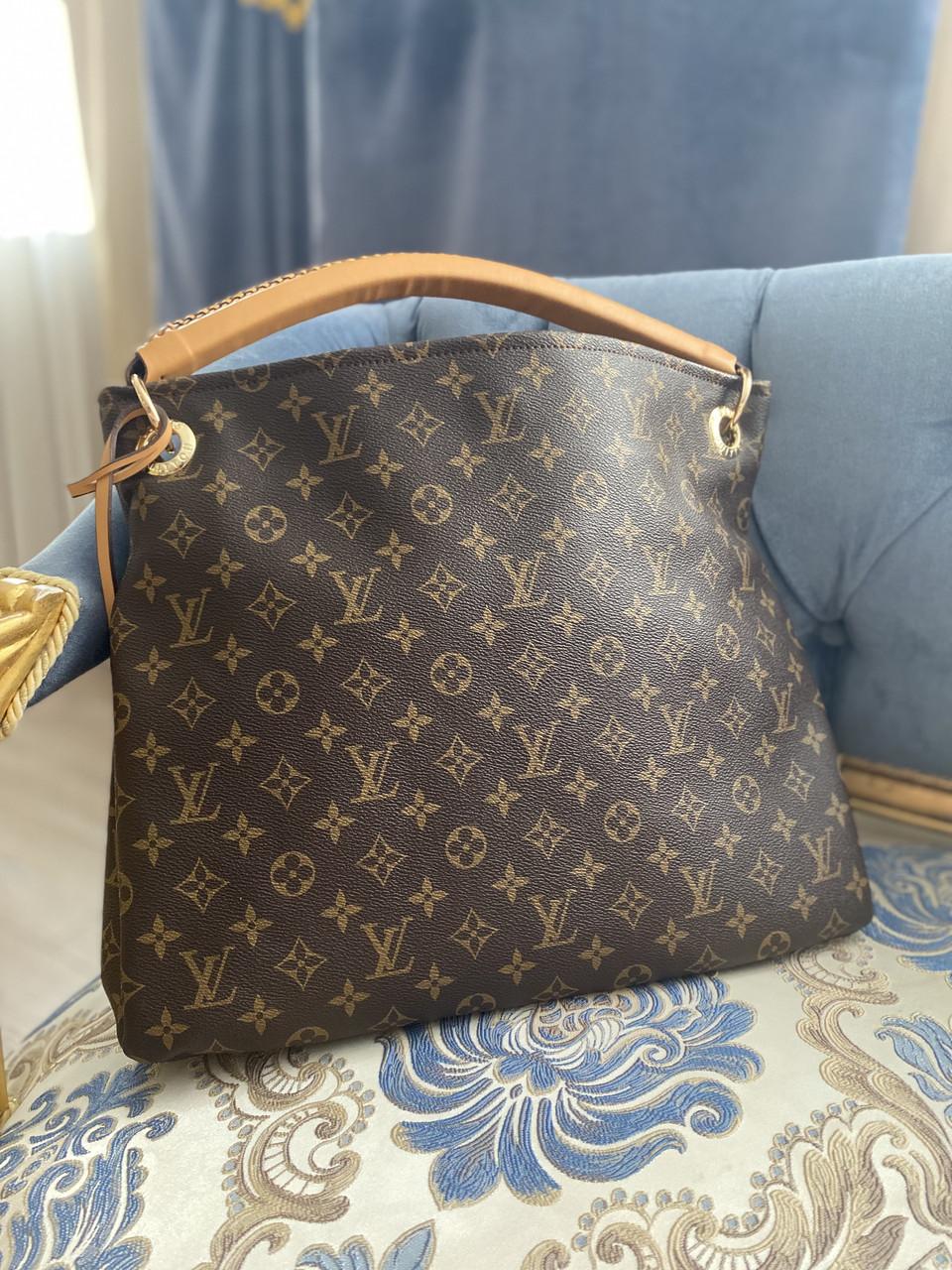 Женская сумка/большая женская сумка/ коричневая сумка Louis Vuitton (люкс копия).