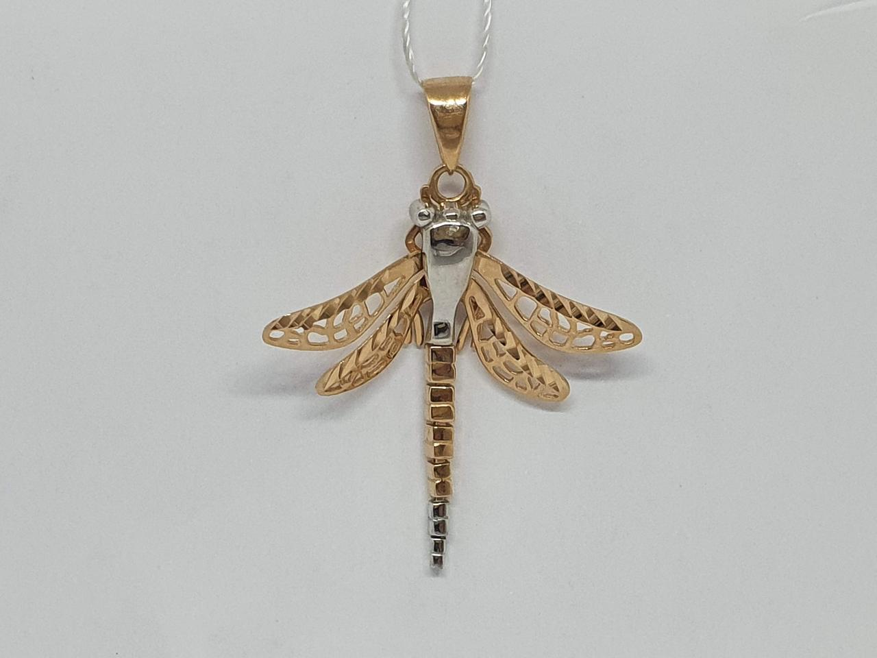 Золота підвіска Стрекоза. Артикул 3591/01/3