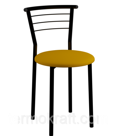 Стул кухонный Марко black кожзам оранжевый, для бара, кафе