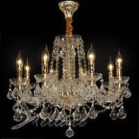 Люстра хрустальная для большой комнаты с высокими потолками на 8 лампочек