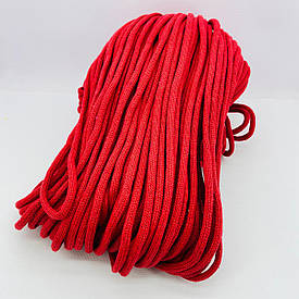 Шнур хлопковый плетеный без сердечника 5 мм 100 м красный