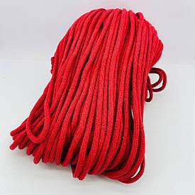Шнур хлопковый плетеный без сердечника 6 мм 100 м красный