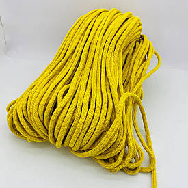 Шнур хлопковый плетеный без сердечника 6 мм 100 м желтый