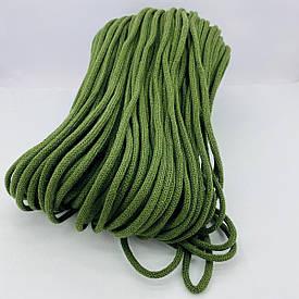 Шнур хлопковый плетеный без сердечника 6 мм 100 м хаки