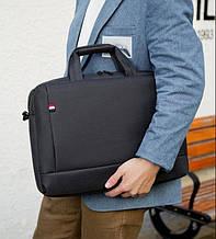 Мужская черная сумка для документов. Портфель для ноутбука. Сумка через плечо. СП01-1