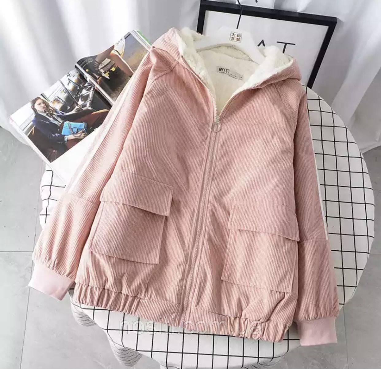 Женская  вельветовая осенняя куртка на меху норма и батал