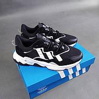 Мужские кроссовки Adidas Ozweego черные с белым