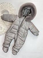Детский зимний комбинезон с варежками и топами, размеры 74