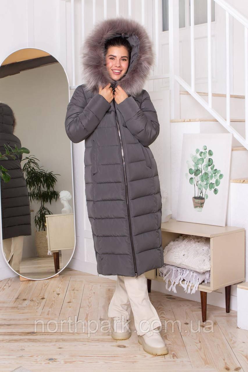 Жіночий довгий пуховик CoolZika Дт-6 з хутром, сірий
