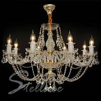 Люстра хрустальная для высоких потолков на 8 лампочек
