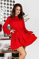 Короткое трикотажное однотонное платье короткое мини с расклешенной юбкой с воланом арт. 9371