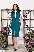 Классический деловой однотонный приталенный сарафан из костюмной ткани с карманами р:42-44, 44-46 арт. 049