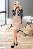 Ефектне облягаюче трикотажне плаття до коліна з леопардовими вставками р:42-44, 44-46 арт. 505