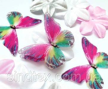 Бабочка из шифона, двухслойные шифоновые бабочки 45х36мм (сп7нг-7852)