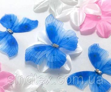 Бабочка из шифона, двухслойные шифоновые бабочки 45х35мм (сп7нг-7845)
