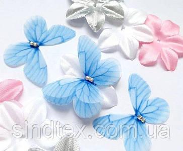 Бабочка из шифона, двухслойные шифоновые бабочки 46х36мм (сп7нг-7866)
